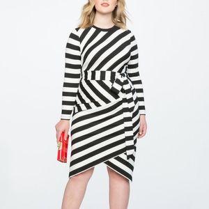 ELOQUII Blocked Stripe Belted Midi Dress NWT 0684
